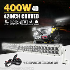 4D PLUS WHITE 42INCH 400W CURVED LED LIGHT BAR WORK COMBO OFFROAD DRIVING VS 40""