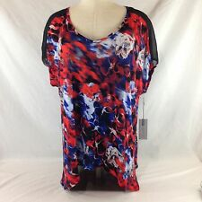 NWT Jennifer Lopez Red White Blue Floral Blouse Watercolor Top Size 2X