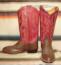 Mens Old West Model # 5333 Brown / Red Leather Cowboy Boots Mens 9 D New In Box