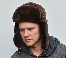 Brown Sheared Norwegian Beaver Fur Men's Russian Ushanka Trapper Aviator Hat