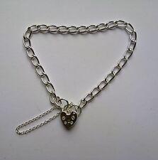 """Mujer 7"""" 4.6mm grueso 925 pulsera con abalorio de plata esterlina 8,1 g"""