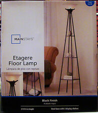 NEW Mainstays Etagere Black Finish Floor Lamp Light With 3 Shelves, 5ft 9.5in H