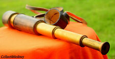 Antique Vintage Spyglass Telescope Leather Lens Cap Hand Tele Collectible Decor