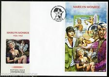 CENTRAL AFRICA  2015 MARILYN MONROE JACK LEMON & TONY CURTIS SHT FIRST DAY COVER