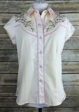 Women's Scully Small Western Floral Bling Breast Cancer Ribbon Short Sleeve Top