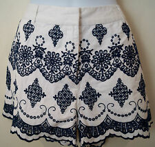 BODEN Off White & Navy Blue 100% Cotton Embroidered Summer Shorts UK12 BNWT