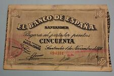 1936 SANTANDER 50 PESETAS BANCO DE ESPAÑA BANKNOTE SPAIN CIVIL WAR,,
