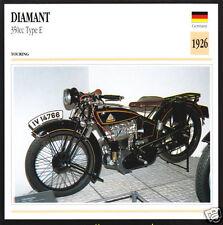 1926 Diamant 350cc Type E Opel German Bike Motorcycle Photo Spec Sheet Info Card