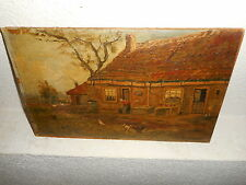 Very old oil painting,{ Woman washing cloths in the fram yard, is signed }.