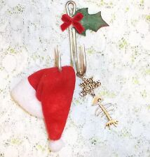 Fishing theme MERRY CHRISTMAS Ornament double Fish Hook, Santa hat & Bonefish