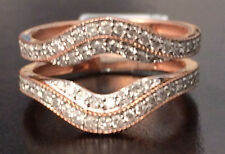 Solitaire Enhancer Vintage Milgrain 0.60 Diamonds Ring Guard Wrap Rose Gold