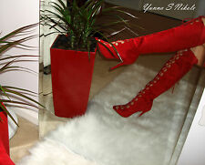 Red Lace Up Peep Toe Knee High Sexy Stiletto Heel Boots, US 6