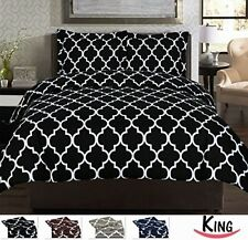 Black King Size 3 Piece Duvet Cover Set Bedding Shams New