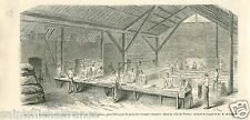Military Bakery Boulangerie Campagne Stadtgraben Vienna GRAVURE OLD PRINT 1866