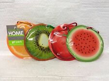 SET OF 4 GEL FREEZER PACK LUNCH BOX ICE PACKS WATERMELON ORANGE KIWI & TOMATO