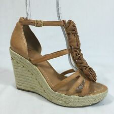 Vince Camuto Wedge Heels 9 B Espadrilles Tan Leather Strappy Platform Shoes