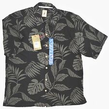 Jamaica Jaxx Short Sleeve Shirt Mens L Obsidian Black Gray 100% Silk NEW 6080