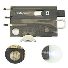 Mini Handy multifonctionnel Survival Knife Camping Card outil Loupe LED