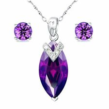 .925 Sterling Silver Womens 7.96Ct Amethyst Gemstone Necklace & Earring Set