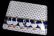 Keller Charles MELAMINE TRAY 14.5 x 11 Blue & White Floral DUCKS Made in ITALY