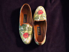 Zalo Tela Junebug Red Green Tapestry Loafer Flats Leather Soles Size 6.5 M