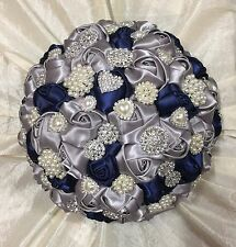 New Bespoke Navy Blue/Silver Roses Brooch Brides Wedding Bouquet, Indian, Asian