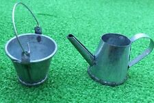Bucket and Large Watering Can, Doll House Miniatures, Garden Accessory.