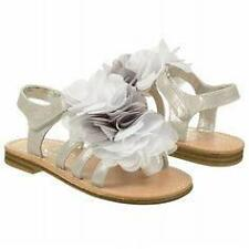 "NEW Toddler's Touch of Nina ""Flossie 1"" - size 7 silver sandals w/wispy flowers"