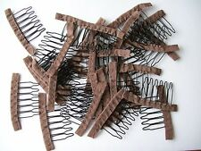 New Lot of 20 6-teeth wire spring brown combs clips glueless handmade lace wigs