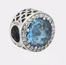 BLUE RADIANT BRILLIANCE 925 Sterling Silver Solid European Charm Bead