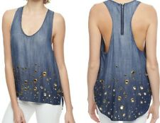 NEW TRUE RELIGION $168 INDIGO OMBRE GROMMET EMBELLISHED TANK TOP TUNIC SZ S