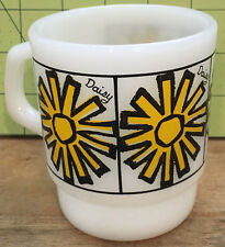 Vintage Anchor Hocking Fire-King Milk Glass Yellow Daisy Stackable Mug