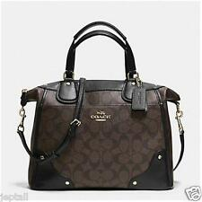Coach F34800 Brown Black Signature Mickie Satchel Bag Brand New Jeptall