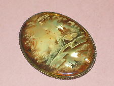 Hand Painted Antique Pearl Shell Sterling Framed Oval Cameo Pin