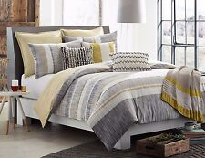 KAS ROOM AUSTRALIA LOGAN  3PC SET, 1 QUEEN DUVET COVER 2 QUEEN SHAMS GRAY YELLOW