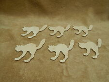 "Unfinished Wood Wooden 1/8"" Plywood Cutouts Halloween Scardy Cat Lot of 6"