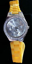 CICI & FAYE LARGE FACE SILVER TONE WATCH WITH CRYSTALS