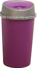PLASTIC 45 L Ltr PLUM PURPLE TOUCH TOP BIN DUSTBIN RUBBISH KITCHEN HOME