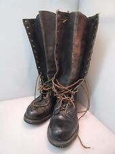 "Vintage KNAPP USA Leather Steel Toe Boots Model K123 16-1/2"" Tall Size 9-1/2D"