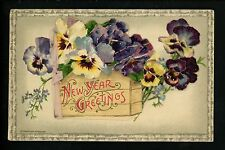 Novelty vintage Open Booklet postcards New Years Winsch 1910 flower pansie
