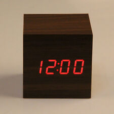 New USB/AAA Wooden Wood Digital LED Desk Alarm Clock Thermometer Timer Calendar