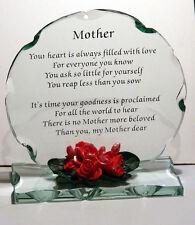 Verre coupe Poème mère plaque inhabituel cadeau pour toute occasion Keepsake maman maman MAM