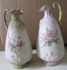 2 VINTAGE CERAMIC FLORAL PORCELAIN HANDPAINTED AND NUMBERED PITCHERS LC