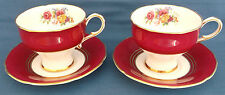 2 PARAGON CHINA 1950s BURGUNDY RED INSET PINK ROSE FLORAL GOLD TRIM CUPS SAUCERS