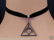 black velvet choker necklace deathly hallows pendant goth harry potter