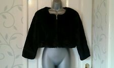 LADIES LOVELY GERMAN BLACK FAUX FUR CROPPED JACKET FROM  TALLY WEIJL SIZE 40