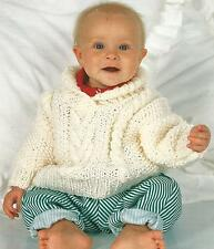 "Baby Chunky Sweater Knitting Pattern, roll neck with moss stitch 18-26"" 235"