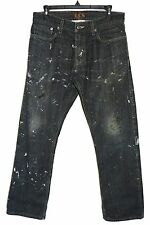 W32 L30 LEVI'S 514 Slim Black Well Broken-In Work Pants Extremely Paint Stained