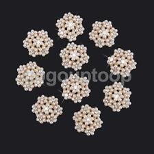 10x Crystal Pearl Flower Bead Flatback Scrapbook Craft Embellishment DIY 25mm