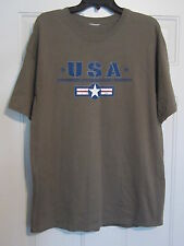 "Mens Tee Shirt army green short sleeve bust / chest 40 ""  32 "" Large FREE SHIP"